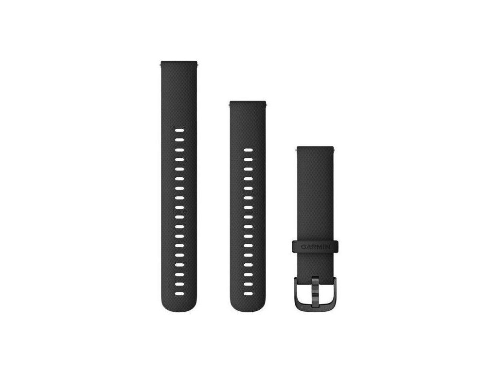 Garmin řemínek Quick Release 18mm vívoactive4S, silikonový černý, černá přezka