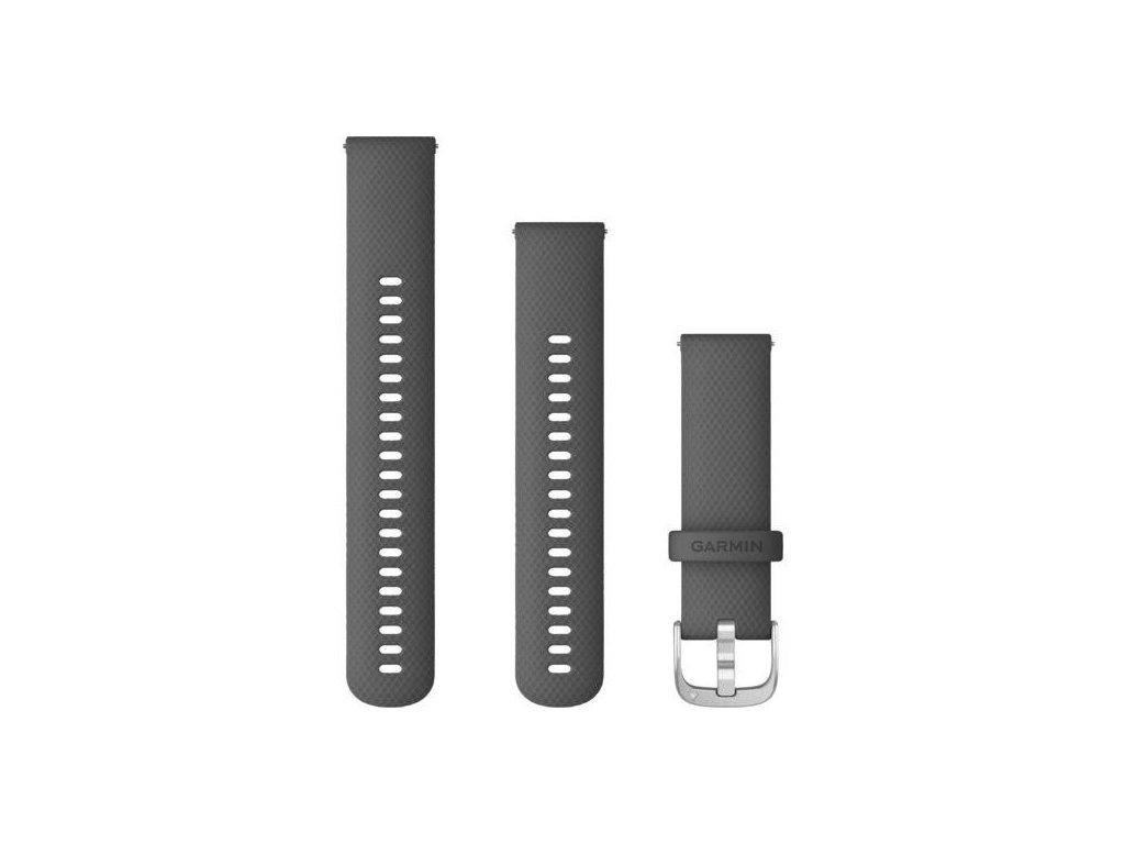 Garmin řemínek vívoactive4 Quick Release 22mm, silikonový tmavě šedý, stříbrná přezka