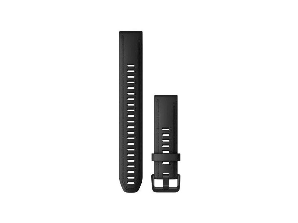 Garmin řemínek pro fenix6S - QuickFit 20, silikonový, černý, dlouhý, černá přezka