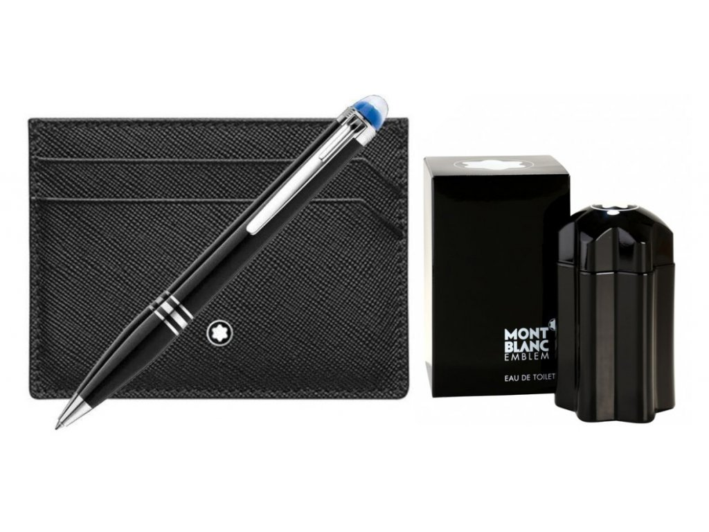 Set Montblanc 123755 pouzdro na kreditní karty a kuličkové pero  + možnost výměny do 90 dní + dárkový poukaz v hodnotě 500Kč + toaletní voda Montblanc v hodnotě 520Kč