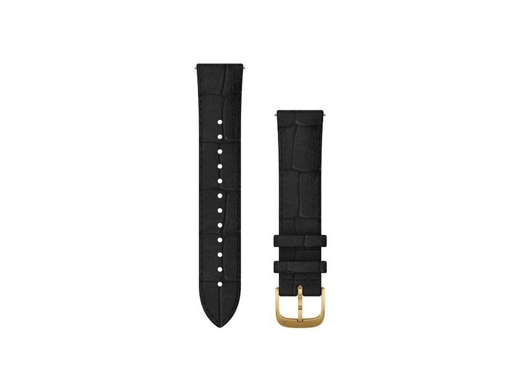 Garmin řemínek Quick Release 20mm, kožený černý, zlatá přezka