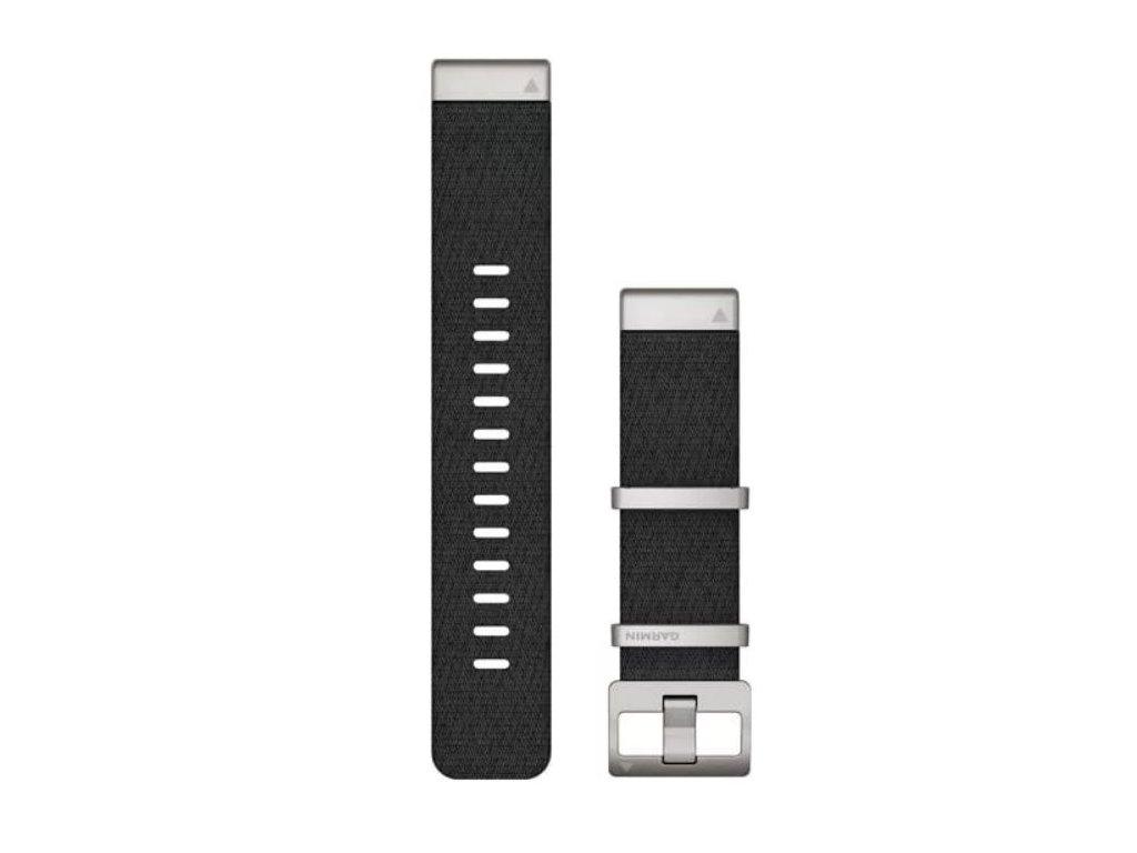 Garmin řemínek pro MARQ - QuickFit 22, nylonový, černý, stříbrné kování