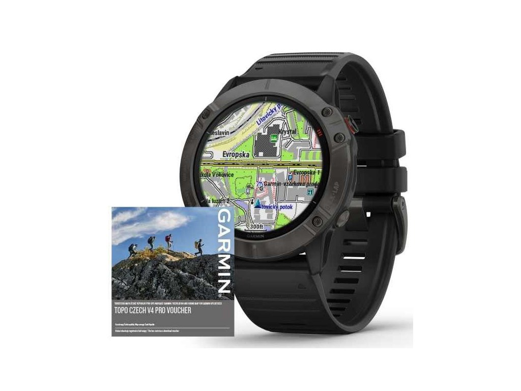 Garmin fenix6X PRO Solar, TitaniumGrayDLC/Black Band (MAP/Music) 010-02157-94