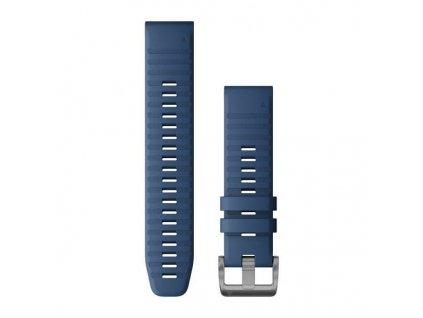 Řemínek pro Garmin Quatix6 - QuickFit 22, silikonový, tmavě modrý, stříbrná přezka