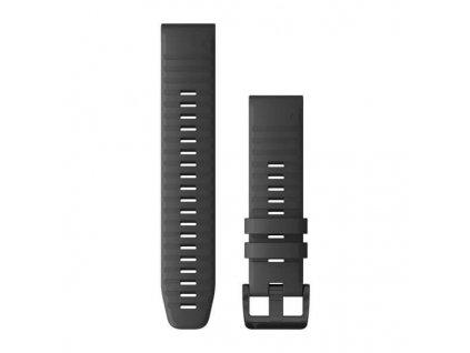Řemínek pro Garmin fenix6 Solar - QuickFit 22, silikonový, tmavě šedý, černá přezka