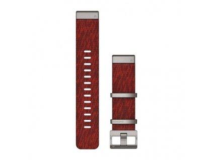 Řemínek pro Garmin MARQ - QuickFit 22, nylonový, červený, stříbrné kování