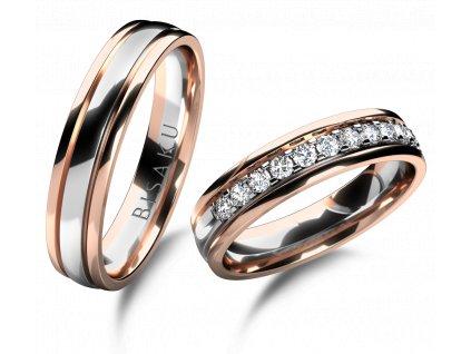 snubni prsteny ruzove bile zlato Harmony