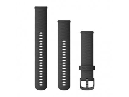 Řemínek Quick Release 20mm, silikonový černý, černá přezka