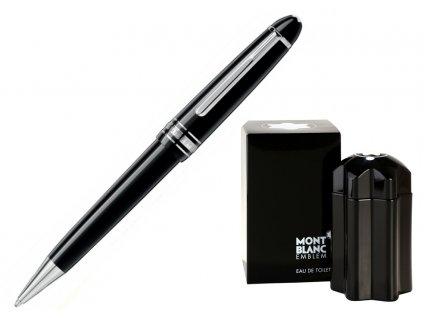 Kuličkové pero Montblanc Meisterstuck Platinum Midsize 114185  + dárkový poukaz v hodnotě 1000Kč + toaletní voda Montblanc v hodnotě 520Kč