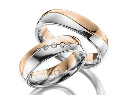 Snubní prsten Couple Mahogany kombinace bílé růžové zlato