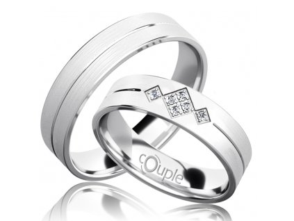 Snubní prsten Couple Rendezvous z bílého zlata