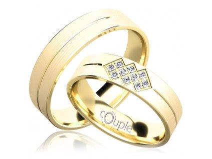 Snubní prsten Couple Palm ze žlutého zlata
