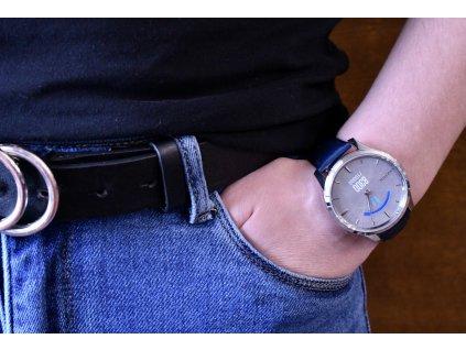 Garmin vívomove3 Luxe, Silver/Blue Leather Band 010-02241-20 Premium  + možnost výměny do 90 dní + dámské náušnice Guess v hodnotě 990 Kč