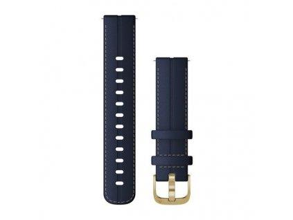 Garmin řemínek vívoactive4S Quick Release 18mm, kožený modrý, zlatá přezka