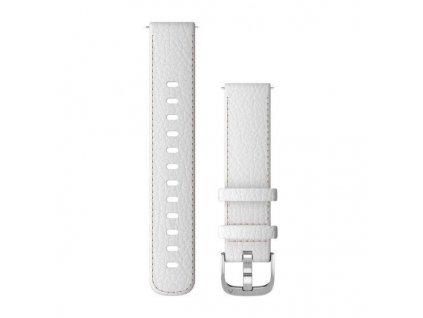 Garmin řemínek vívoactive4S Quick Release 18mm, kožený bílý, stříbrná přezka