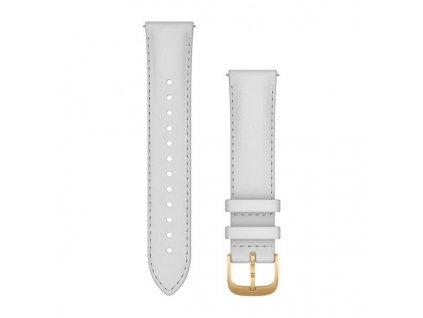 Garmin řemínek Quick Release 20mm, kožený bílý, zlatá přezka