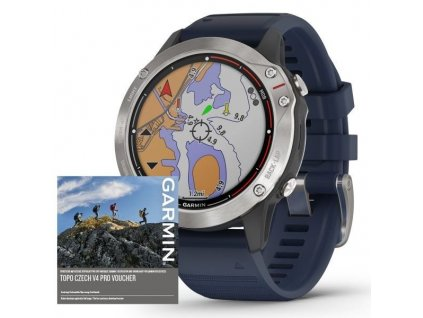 90860 10 garmin quatix6 pro glass silver blue band 010 02158 88