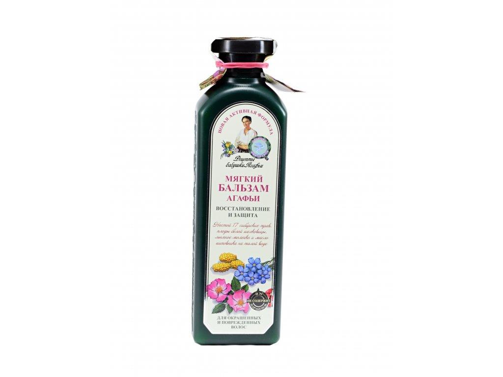 Babička Agafia - Jemný balzám ze 17 bylin, vyživující, na barvené a poškozené vlasy – 350 ml