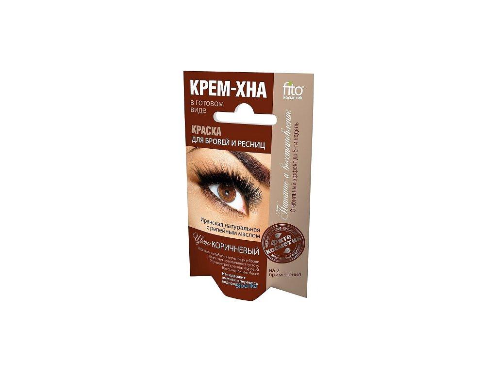 Krémová farba s hennou na obočie a riasy HNEDÁ - Fitokosmetik - 2x2 ml