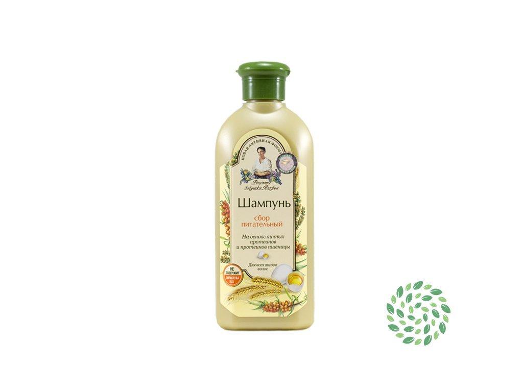 Vyživujúci šampón pre všetky typy vlasov s vaječným proteínom - Babička Agafia - 350 ml
