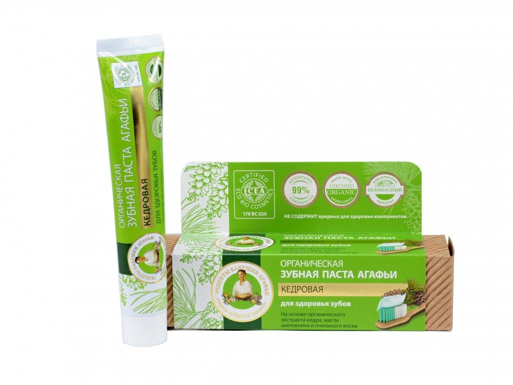 Babička Agafa Bio organická zubná pasta Babky Agafy pre zdravé zuby- bez fluoridu -cédrová - 75 ml