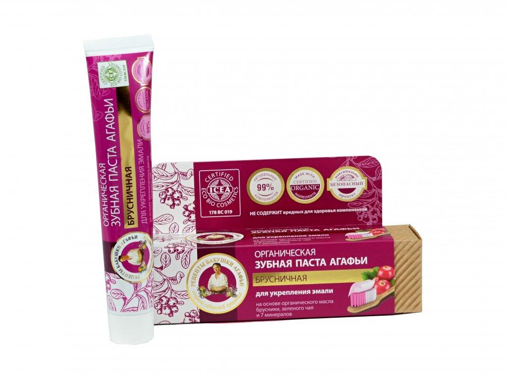 Babička Agafa Bio organická zubná pasta Babky Agafy pre zdravé zuby- výťažok z brusnice - pre posilnenie zubnej skloviny - bez fluoridu - 75 ml