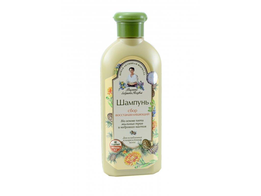 Obnovujúci šampón na báze 5 mydlových bylín s cédrovou esenciou - Babička Agafia  350 ml