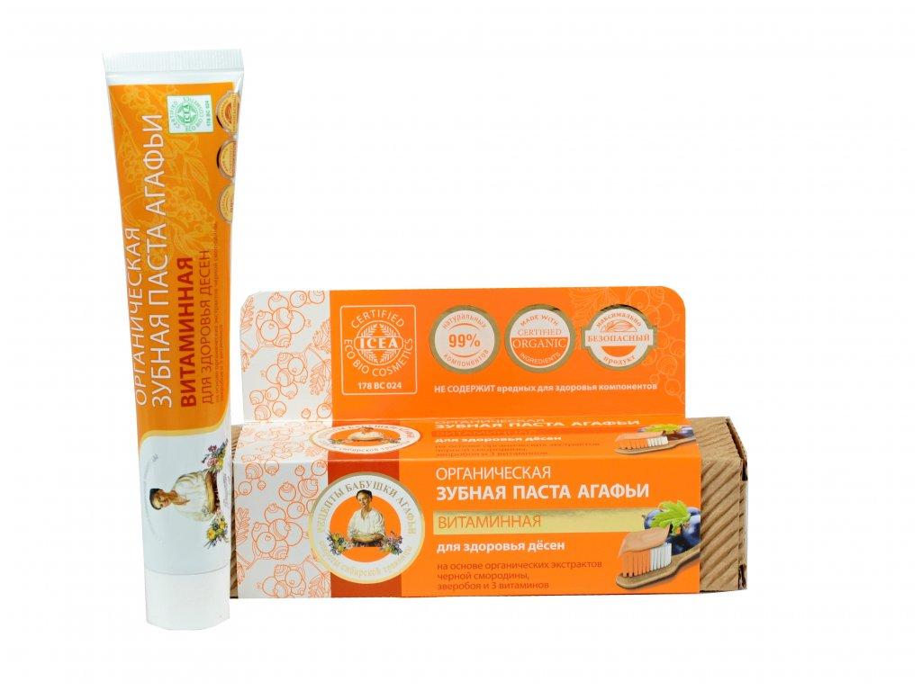 Babička Agafa Bio organická zubná pasta Babky Agafy pre zdravé zuby- vitamínová - bez fluoridu - zdravé ďasná - 75 m