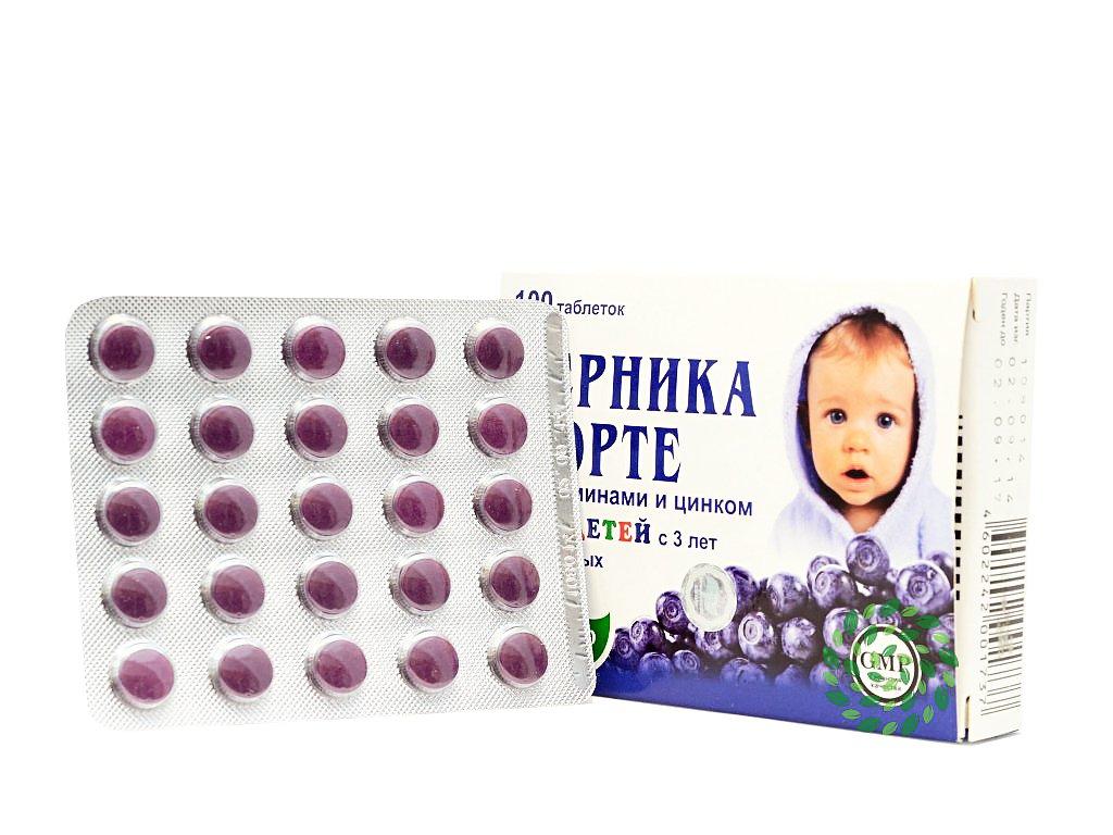 Evalar čučoriedka forte pre deti od 3 rokov, doplnok stravy so zinkom a radou vitamínov - 100 tabliet