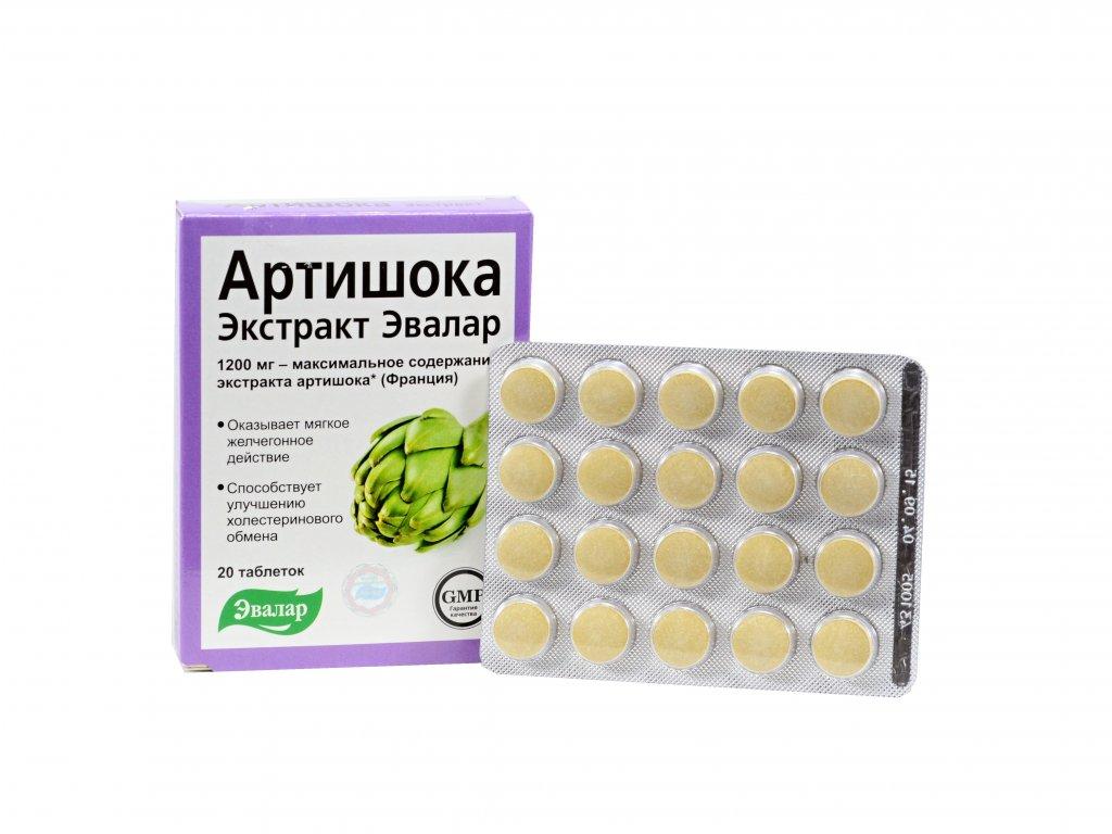 Evalar- extrakt artičoka tabletky- 20 tabliet