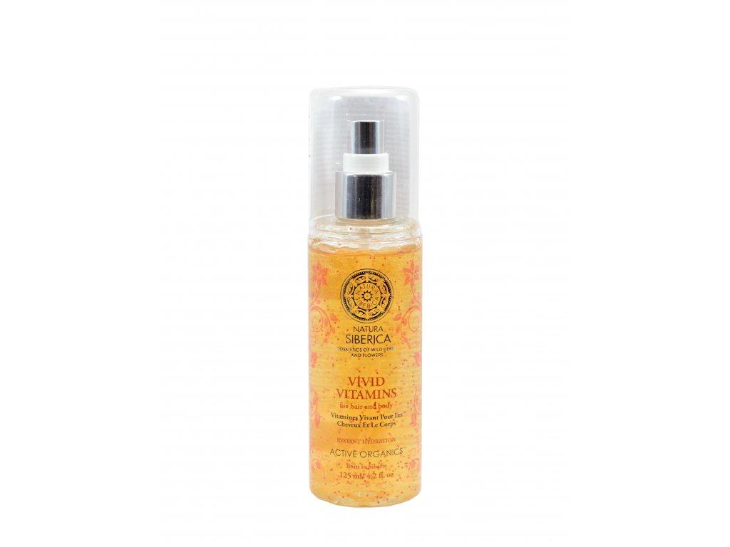 Natura Siberica Sprej na telo a vlasy s vitamínmi pre okamžité zvlhčenie - Živé vitamíny - 125 ml