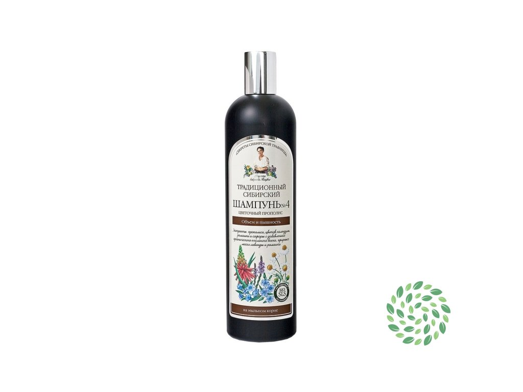 Babička Agafa - Tradičný sibírsky šampón na vlasy na báze kvetového propolisu – pre objem a krásu vlasov - 550 ml