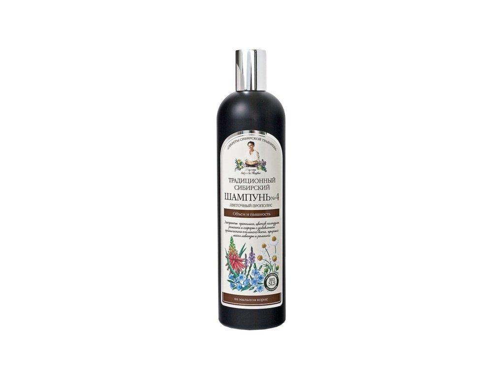 Tradičný sibírsky šampón na vlasy na báze kvetového propolisu – pre objem a krásu vlasov č. 4 - Babička Agafia - 550 ml
