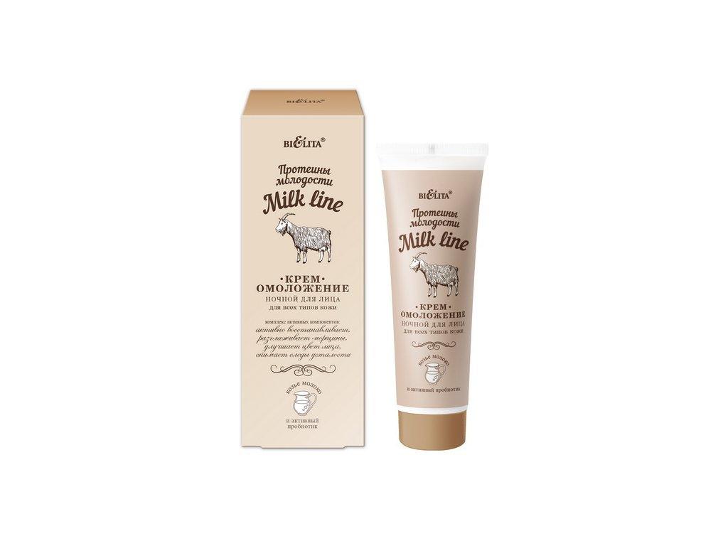Belita - Milk line - Nočný omladzujúci krém pre všetky typy pleti s proteínom mladosti, 50ml