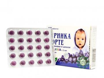 Čučoriedka forte pre deti od 3 rokov - doplnok stravy so zinkom a radou vitamínov - Evalar - 100 tabliet