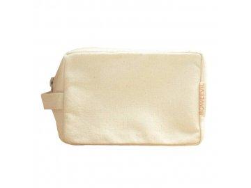 Kozmetická taška- make-up z biobavlny - natural - BoWeevil - 17 x 9 x 7 cm
