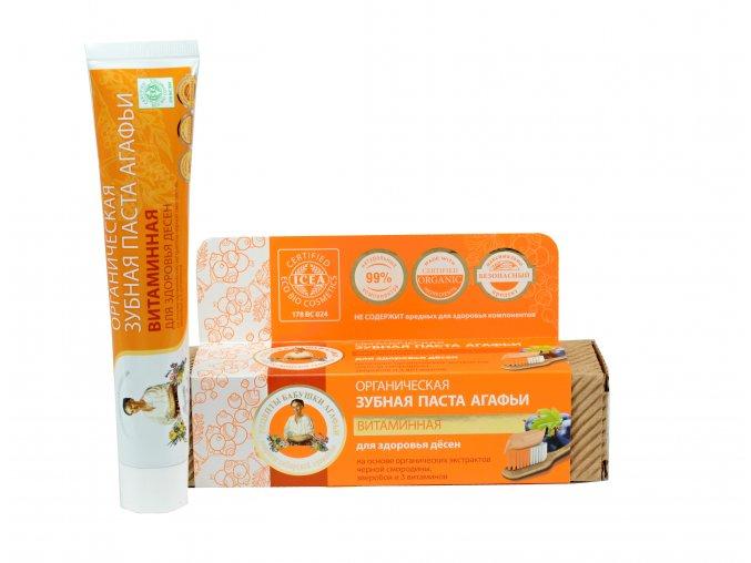Babička Agafa Bio organická zubná pasta Babky Agafy pre zdravé zuby- vitamínová - bez fluóru - zdravé ďasná - 75 m