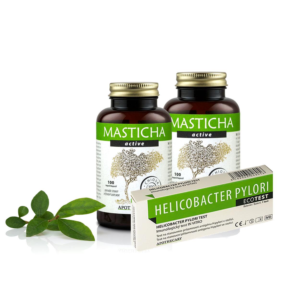 Masticha Terapia Set 2x Masticha Active + test na helikobaktera - pre zdravý žalúdok a podporu trávenia