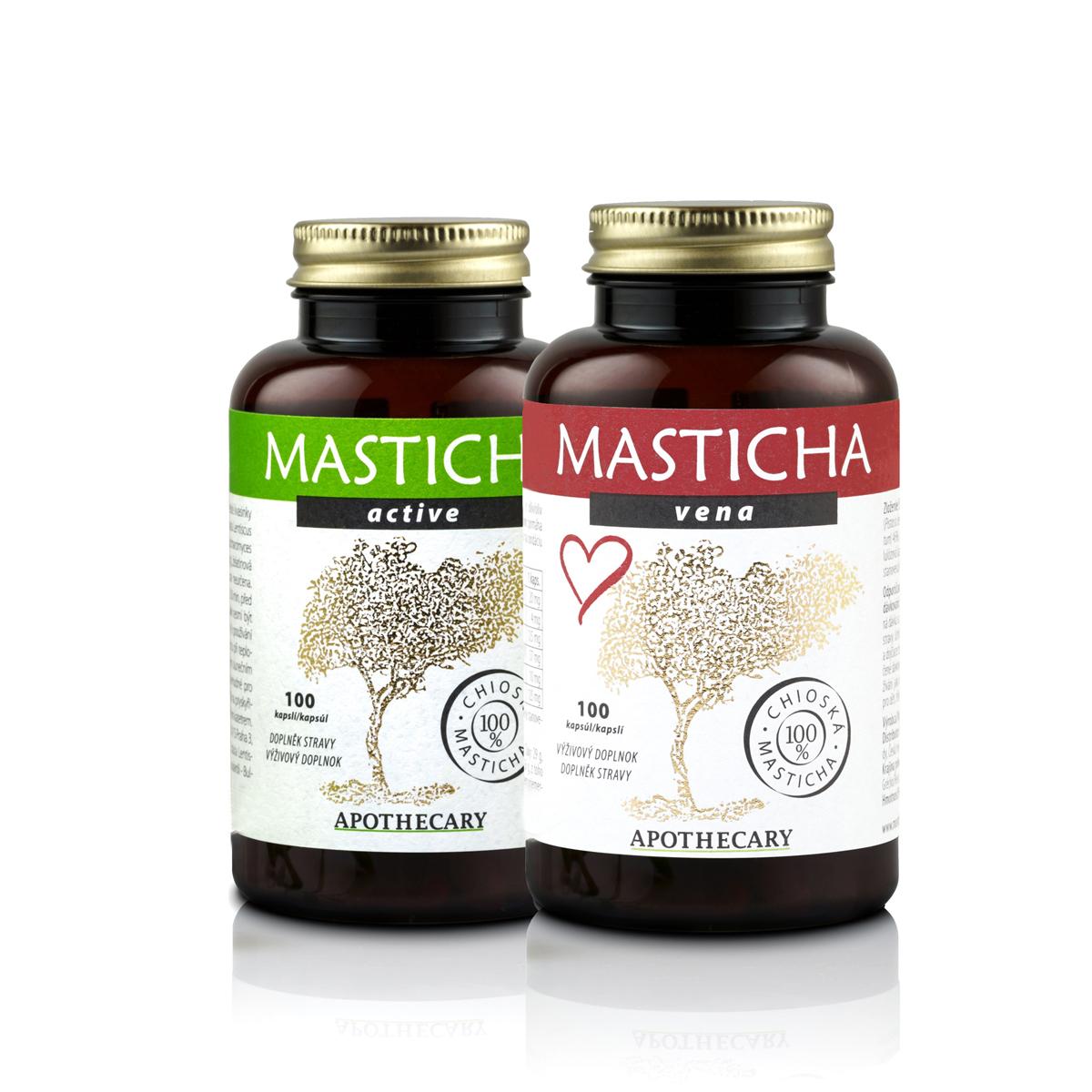 Masticha Terapia Set masticha Active + masticha Vena - prírodné kôra na podporu zdravia