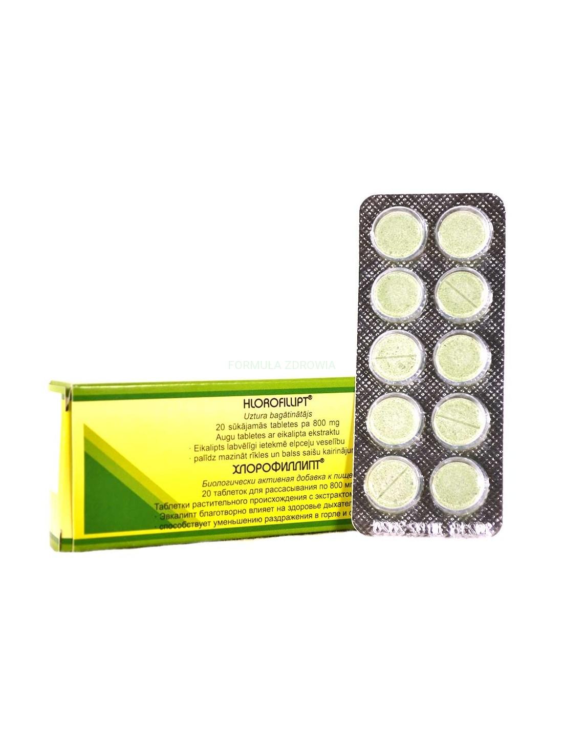 Chlorophyllipt tablety pre zdravie dýchacích ciest - Vifiteh - 20 tabliet