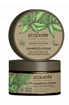 Peelingový šampón Aloe vera - detoxikuje a hydratuje vlasy - EcoLatier Organic - 250ml
