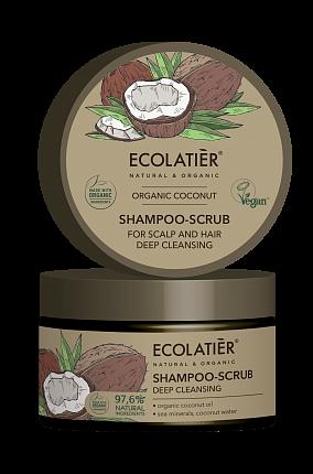 Peelingový šampón Kokos - hĺbkové čistenie pokožky a vlasov - EcoLatier Organic - 250ml