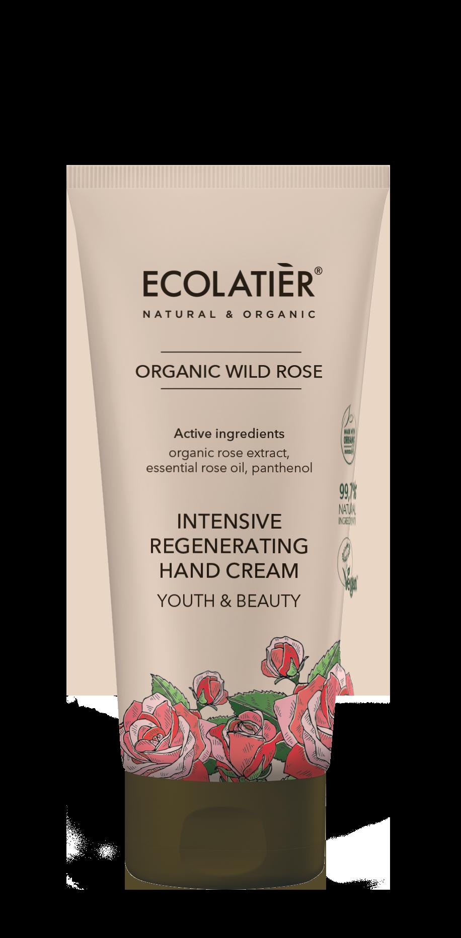 Intenzívny regeneračný krém na ruky - Divá ruža - Mladosť a krása - EcoLatier Organic - 100 ml