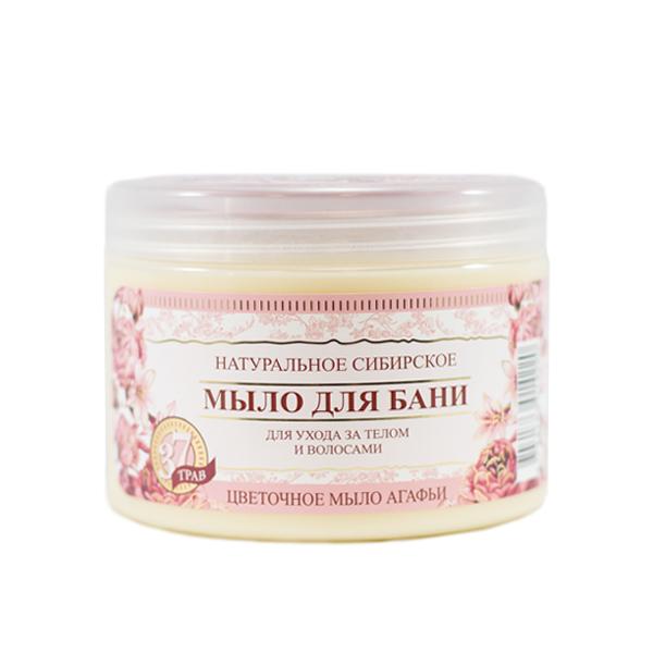 Prírodné sibírske mydlo do kúpeľa s kvetovým nektárom pre starostlivosť o telo a vlasy - Babička Agafia - 500 ml