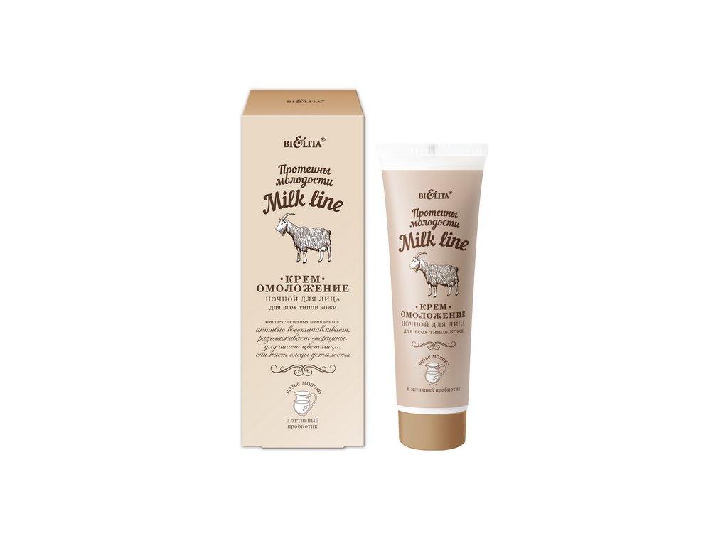 Nočný omladzujúci krém pre všetky typy pleti s proteínom mladosti - Milk Line - Belita - 50ml