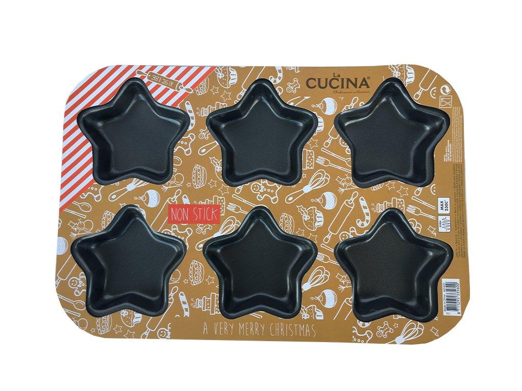Kovová forma na pečení, 6 formiček - HVĚZDA LA CUCINA