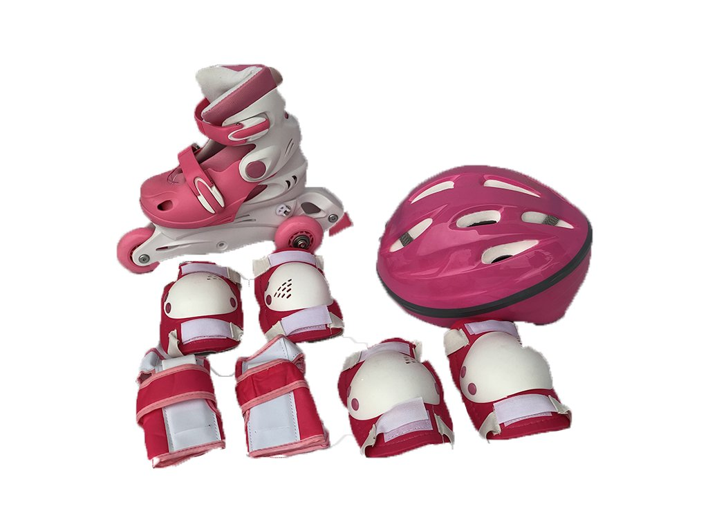 Dětské kolečkové brusle sportwell + chráníče - Růžové  + chrániče