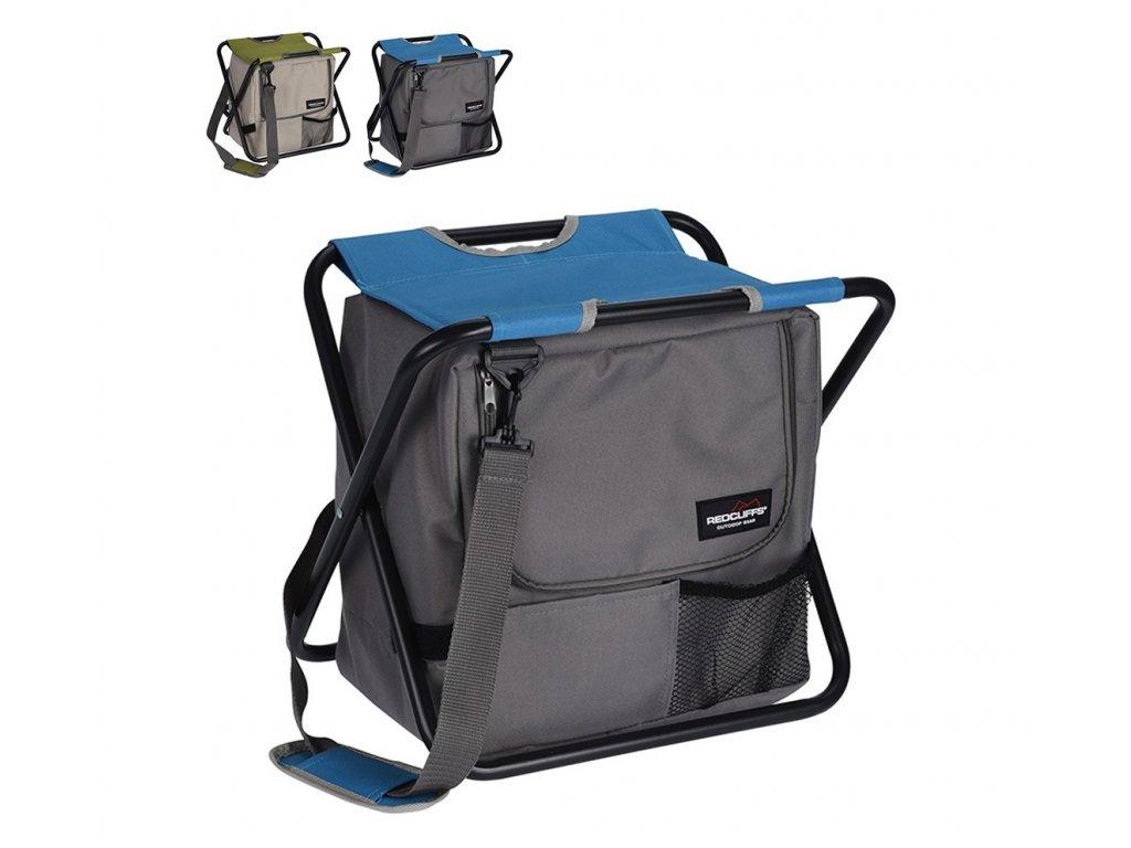 taburete camping con bolsa tipo nevera 42x28x36cm colores surtidos
