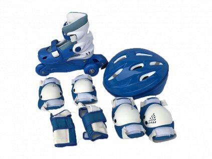 Dětské kolečkové brusle sportwell + chrániče - Modré  + chrániče