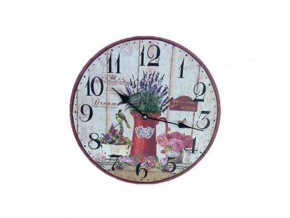 Hodiny retro PN01 motiv květiny 2
